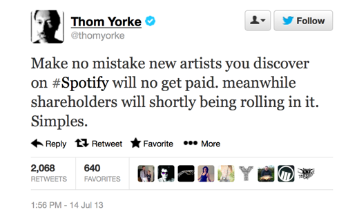 Yorke tweets his opinion of Spotify
